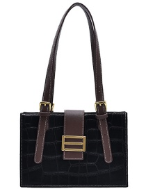 Fashion Black Stone Pattern Stitching Contrast One Shoulder Diagonal Bag