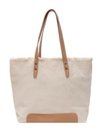 Fashion Brown Large Capacity Canvas Raw Edge One-shoulder Shopping Bag
