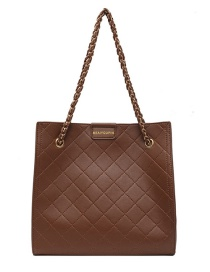 Fashion Brown Large Capacity Rhombic Chain Shoulder Messenger Bag