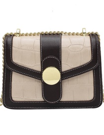 Fashion Creamy-white Chain Stone Pattern Contrast Color One-shoulder Messenger Bag