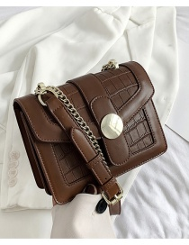 Fashion Brown Crocodile Pattern Chain Shoulder Messenger Bag