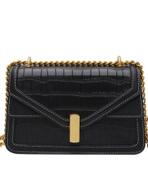Fashion Black Chain Crocodile Pattern Contrast One-shoulder Crossbody Bag