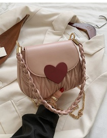 Fashion Pink Pleated Love Chain Shoulder Crossbody Bag