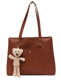 Fashion Brown Large-capacity Stitching Contrast Color Shoulder Bag