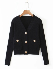 Fashion Black Button Stitching V-neck Knitted Cardigan