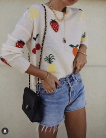 Fashion Creamy-white Strawberry Fruit Round Neck Loose Sweater