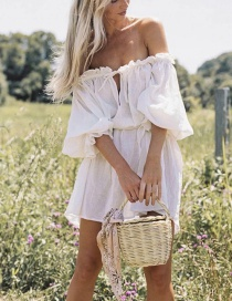 Fashion White Solid Color Dress With Ruffled Sleeves And Belt