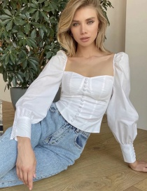 Fashion White One-breasted Halter Tethered Square-neck Solid Color Shirt