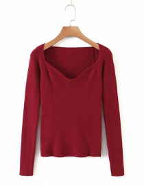 Fashion Maroon Square Collar Solid Color Base Sweater