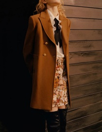 Fashion Brown Wool Double-breasted Solid Color Coat