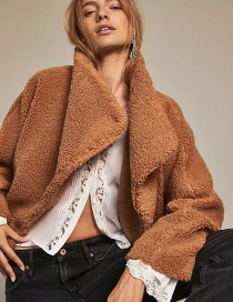 Fashion Brown Solid Color Jacket With Teddy Fur Lapel