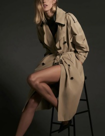 Fashion Khaki Double-breasted Belted Lapel Solid Color Trench Coat