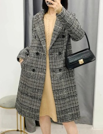 Fashion Black Houndstooth Double-breasted Long Coat
