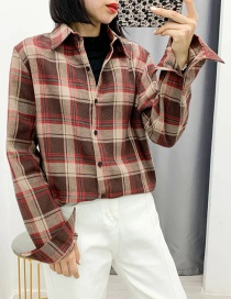 Fashion Red Checked Lapel Loose Shirt
