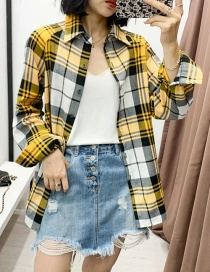 Fashion Yellow Plaid Stitching Loose Shirt