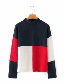 Fashion Navy Contrasting Color Knitted Long-sleeved Sweater