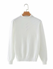 Fashion White Button Solid Color Loose Stand-up Collar Sweater