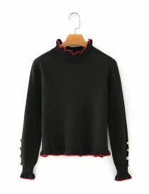 Fashion Black Cuff Buttons And Wooden Ears Pullover Long-sleeved Sweater