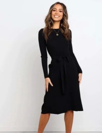 Fashion Black Round Neck Solid Color Long Dress With Belt