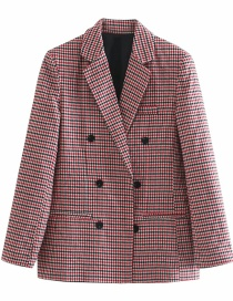 Fashion Red Double-breasted Plaid Blazer