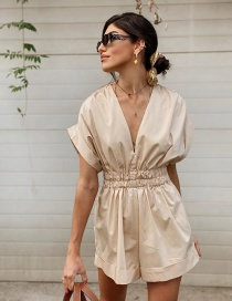 Fashion Beige V-neck Waist Pleated Jumpsuit