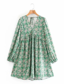 Fashion Green V-neck Printed Tether Puff Sleeve Skirt