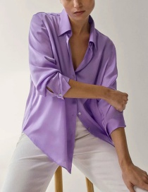 Fashion Purple Solid Color Loose Shirt Top