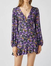 Fashion Color V-neck Flower Print Ruffle Dress