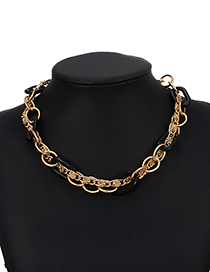 Fashion Black Alloy Resin Chain Necklace