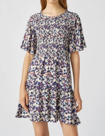 Fashion Color Printed Pleated Panel Dress