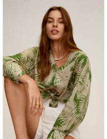 Fashion Green Leaf V-neck Buttoned Printed Shirt