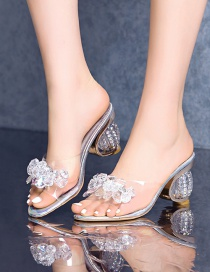 Fashion Silver Color Round Head Open Toe Profiled High Heel Sequined Sandals And Slippers With Rhinestones