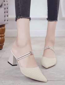 Fashion Off-white Thick Heel Pointed Thick Heel One High Heel And Two Slippers