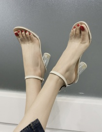 Fashion Creamy-white Transparent High Heel Buckle Hollow Open Toe Sandals