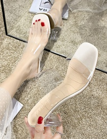 Fashion Apricot One Word Transparent Crystal Sandals And Slippers With High Thick Heel