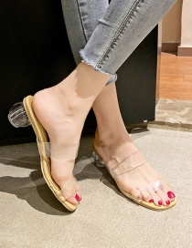 Fashion Apricot Transparent Thick Heel Sandals And Slippers
