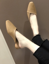 Fashion Khaki Pointed Splicing Flat Half Slippers Without Heel