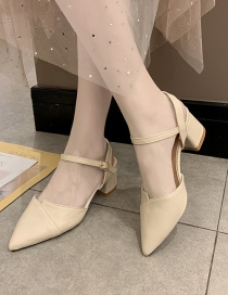 Fashion Creamy-white Pointed Toe Slippers With Thick Heel And A Buckle