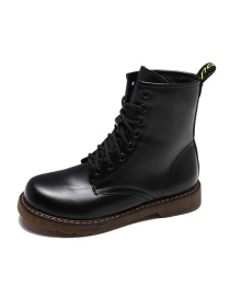 Fashion Black (cotton) Martin Boots With Thick Heel And Tendon