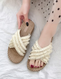 Fashion White Cross Fringed Round Toe Flat-heel Flat Sandals And Slippers