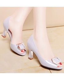 Fashion Gray Fish Mouth Thick Heel Square Buckle Pumps