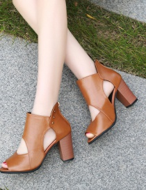 Fashion Light Brown Thick High-heeled Fish Mouth Sandals