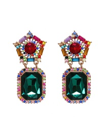 Fashion Color Mixing Diamond Geometric Alloy Earrings