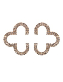 Fashion White Geometric Shaped Diamond Alloy Hollow Earrings