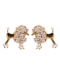 Fashion Gold Coloren Pearl Doggy Alloy Earrings