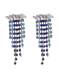 Fashion Blue Geometric Alloy Earrings Studded With Diamonds And Tassels