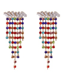 Fashion Color Geometric Alloy Earrings With Tassels And Diamonds
