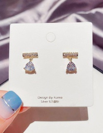 Fashion Real Gold Color Plated Triangle Diamond Zircon Gold Plated Earrings