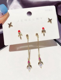 Fashion Real Gold Color Plated Copper Inlaid Zircon Airplane Earring Set