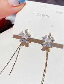 Fashion Real Gold Color Plated Back Hanging Long Tassel Butterfly Copper Inlaid Zircon Earrings